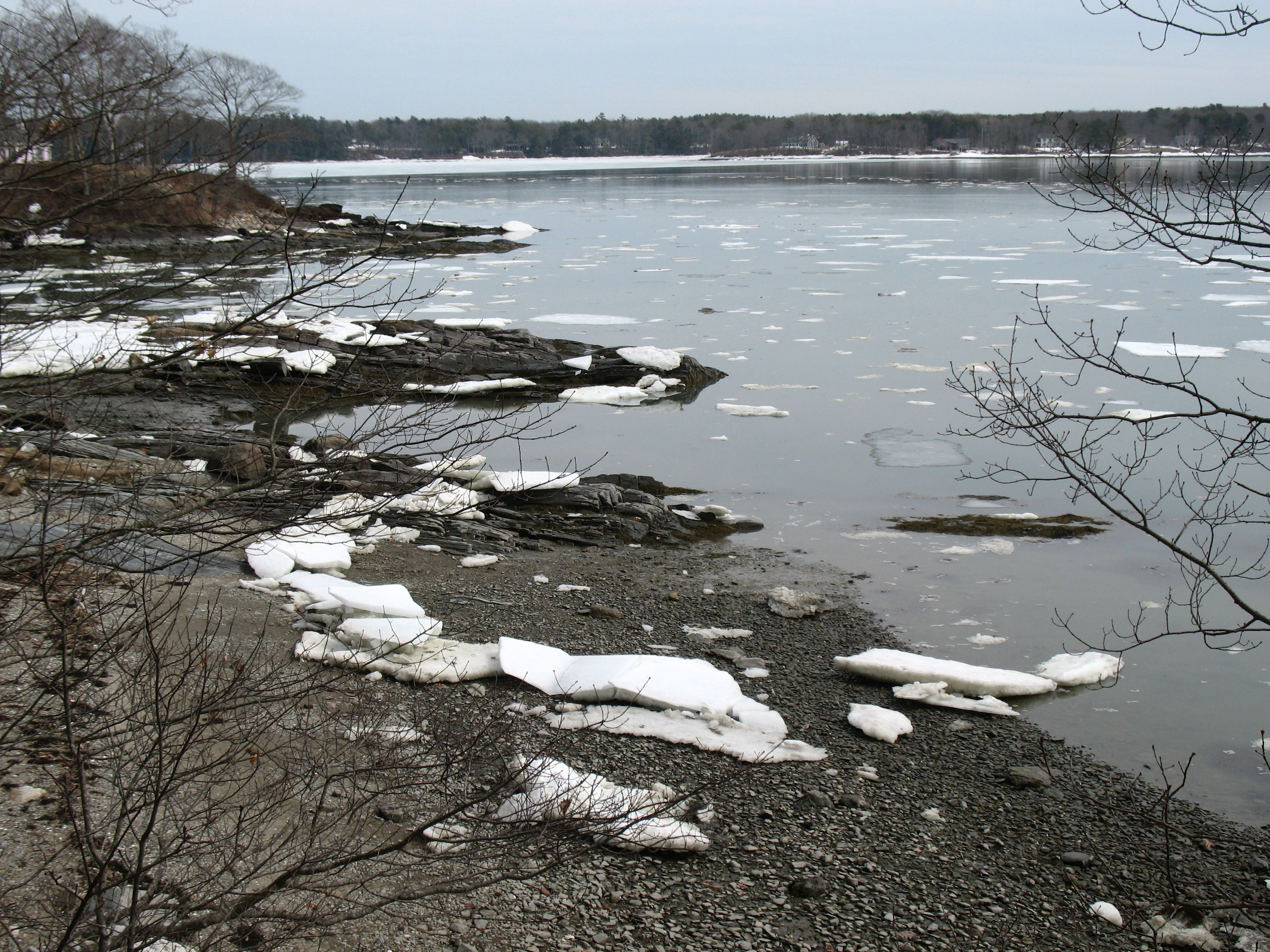 Remnant ice, with the still unbroken sheet  in the background.