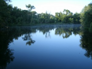 Looking up the Concord River at dawn