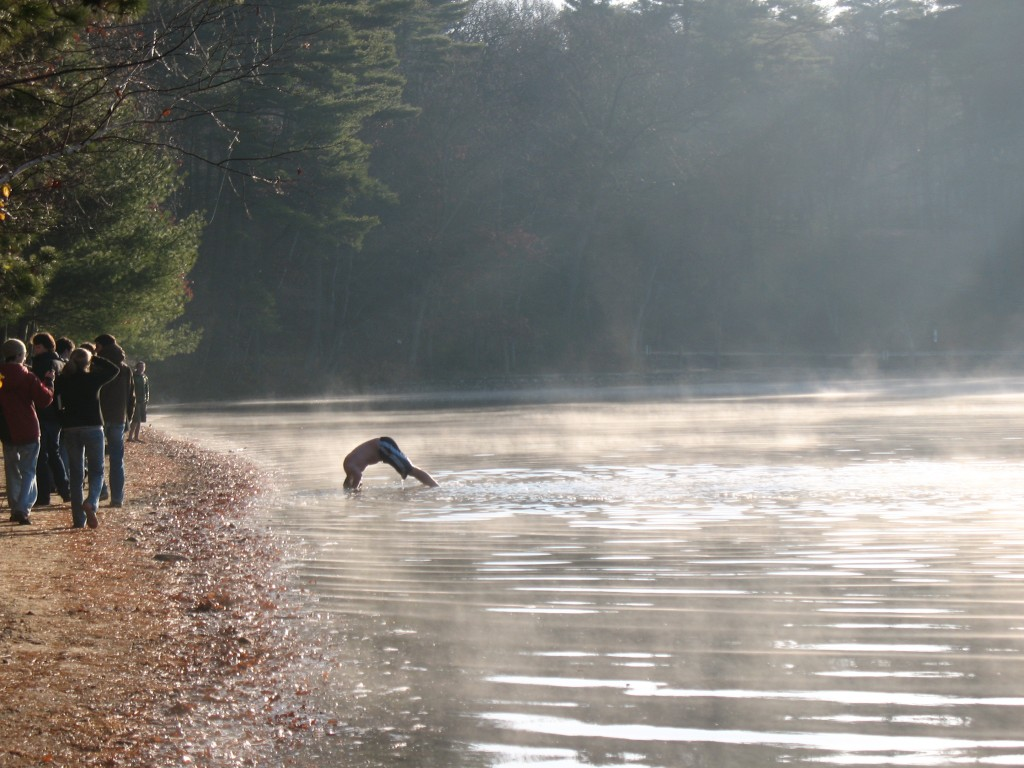 Andrew inverting his head on November morning at Walden