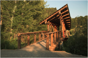 A new bridge on the Drinking Horse Mountain trail, near Bozeman, MT.  Photo from gallatinartcrossing.com