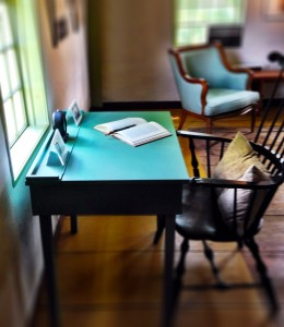 Write at a replica of the desk Thoreau had at Walden Pond.