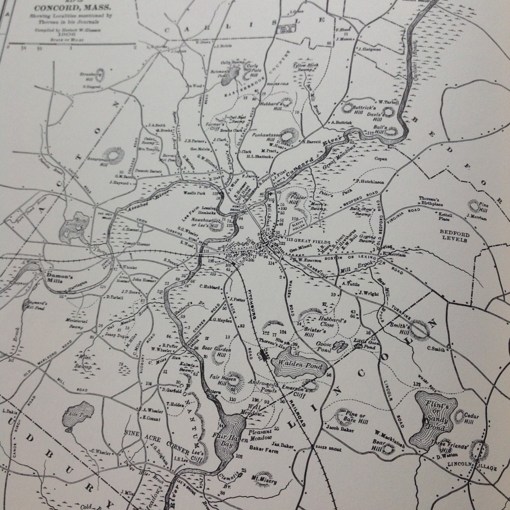 Gleason's famour 1906 map of Thoreau's Concord area