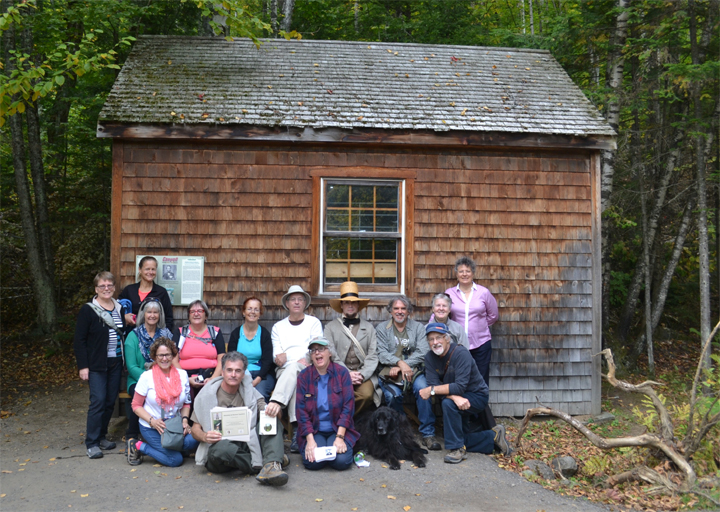 Successful saunterers at the Walden house replica at Canyon Sainte-Anne, October 2, 2016.