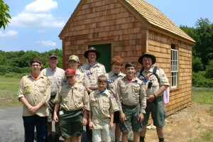 Scouts visit the Thoreau cabin replica donated by http://thoroughhomes.com,